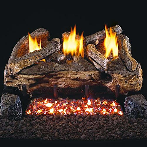 Peterson Real Fyre 18-inch Evening Fyre Split Log Set With Vent-free Natural Gas Ansi Certified G18 Burner - Electronic Non-standing Pilot And Variable Flame Remote (18 Ventless Gas Logs With Remote compare prices)