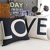 "18 X 18"" Decorative Cotton Linen Throw Pillow Cover Cushion Case Couple Pillow Case, Set of 2 - Love (Black & White)"