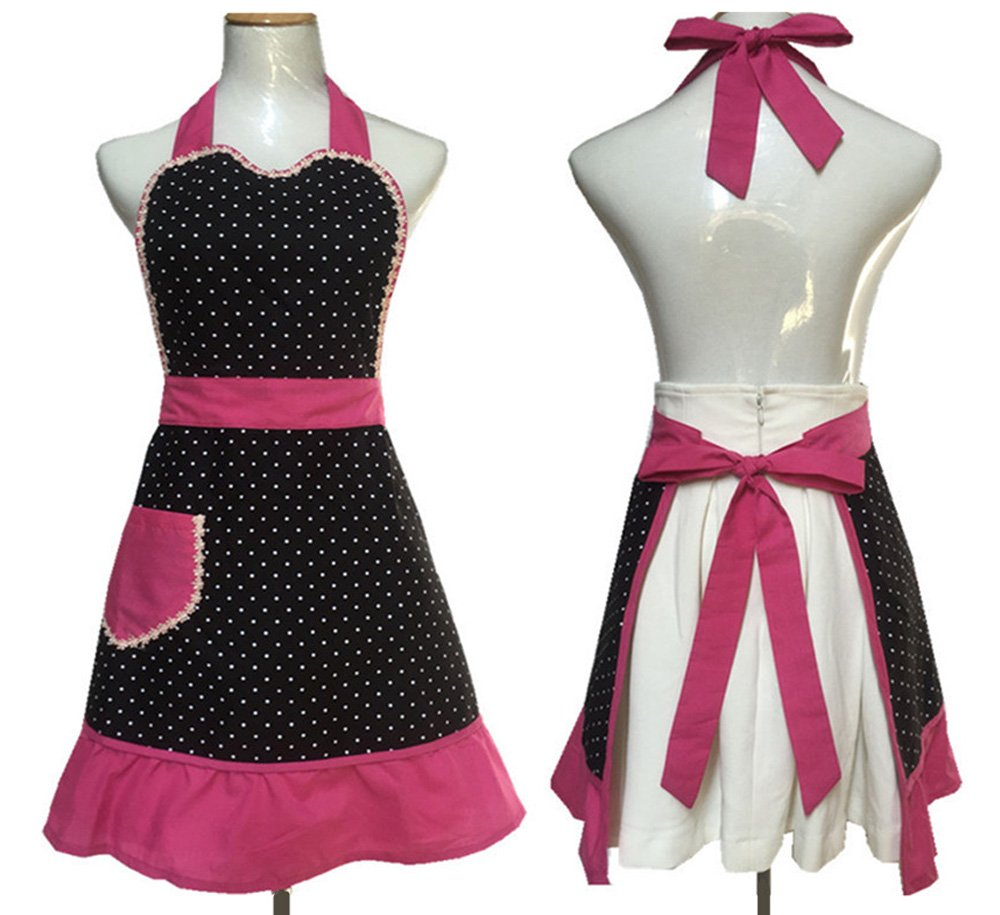 Cute Lovely Black Lace Aprons with Pocket for Women Girls Vintage Aprons Kitchen Cooking Apron 0