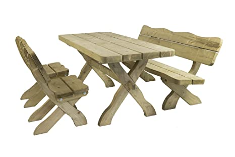 Farm Garnitur 170 cm (Gartenbank, Tisch + 2 Stuhle) Solide Gartenmöbel aus 60 mm starkem Kiefernholz