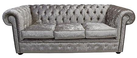 Chesterfield 3-Sitzer-schimmernden Glanz Silber Sofa