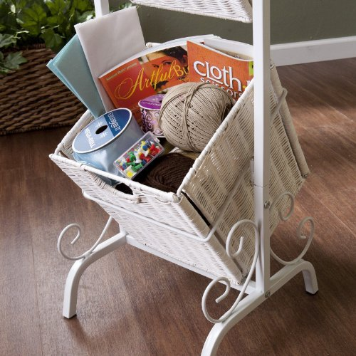Southern Enterprises Colleen 2-Tier Basket Storage - White
