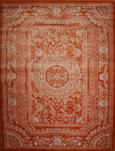 Orange Traditional French Floral Wool Persian Area Rugs 5'2 x 7'3