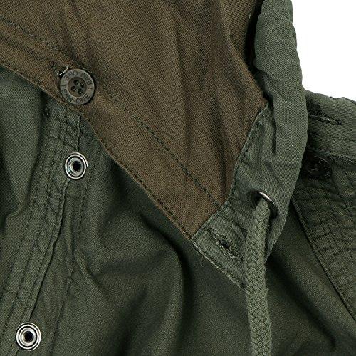 ililily Men Military Vintage Hood Slim Fit Tactical Roll Up Shirt Jacket 3