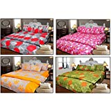 JBG Home Store Cotton Double Bedsheet With Pillow Covers (Pack Of 4)-Multi-Colour - B0168C8V18
