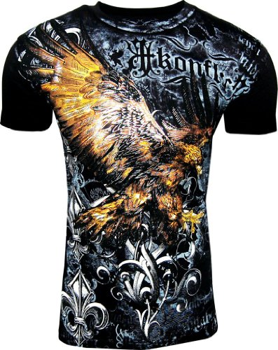 Konflict NWT Men's Striking Eagle Black Graphic Designer MMA Muscle T-shirt!-Black-Small