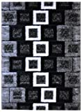 Royal Collection Black Grey and White Contemporary Square Frames Abstract Design Shaggy Shag Area Rug (6033) (3'x5')