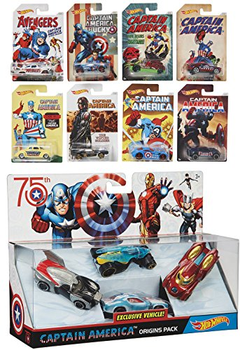 Captain America 75th Avengers Hot Wheels Exclusive Car Sets 8 Cars + EXCLUSIVE VEHICLE Origins 4 Pack