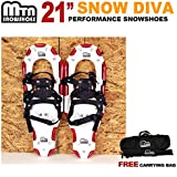 "New MTN Man Woman Kid Youth 21"" Red Snowshoes with Nordic Walking Pole Free Bag snowshoe"
