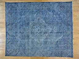 10\'x12\' Overdyed Persian Tabriz Worn Down Hand Knotted Oriental Rug G24420