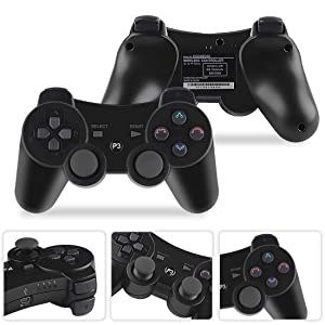 Molgegk Wireless Bluetooth Controllers for PS3 Playstation 3 Double Shock - Bundled with USB Charge Cord (2Blue) (Color: (2Blue))