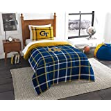 """Georgia Tech Yellow Jackets - 2 Piece TWIN Size Embroidered Comforter Set - Entire Set Includes: 1 Twin Comforter (64""""x86"""") & 1 Pillow Sham"""