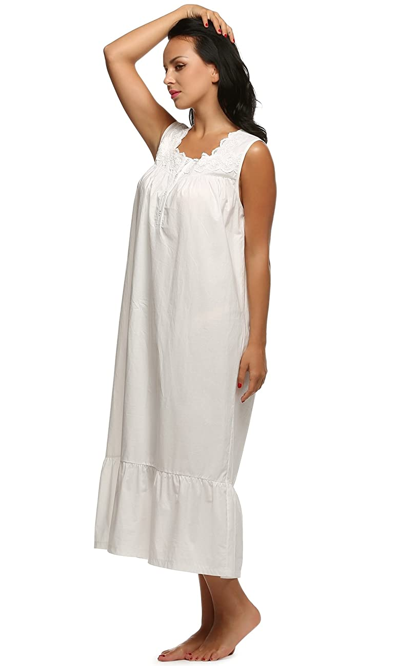 Ekouaer Womens Nightgown 100% Cotton Victorian Long Sleeveless Sleepwear S-XL 4