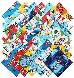 Robert Kaufman DR. SEUSS Precut 5-inch Cotton Fabric Quilting Squares Charm Pack Assortment Dr Seuss