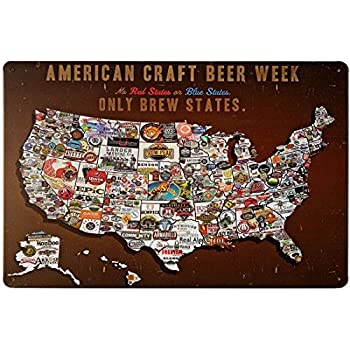 ERLOOD Tin Signs Vintage Wall Retro Metal Bar Pub Poster American Craft Beer Week