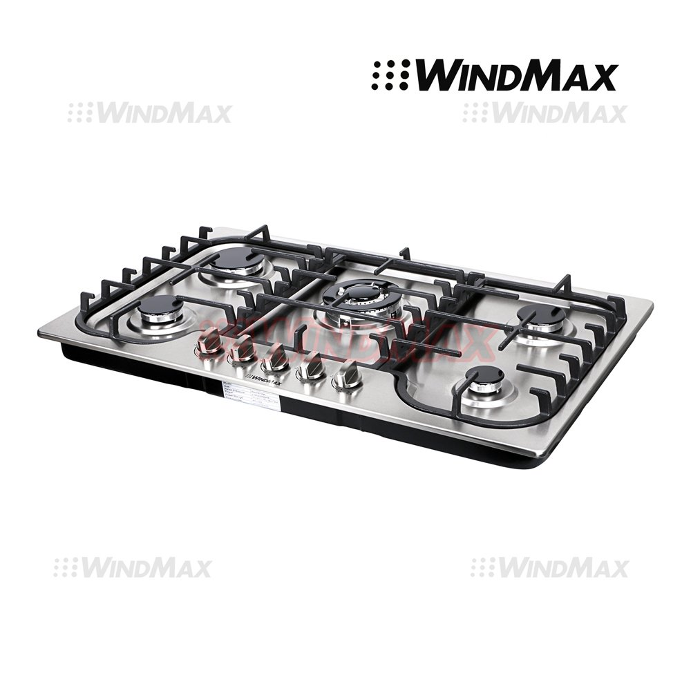 "34"" Fashion Lines Stainless Steel 5 Burner Built-In Stoves NG LPG Gas Cooktops Cooker"