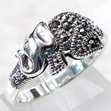 buy Blazers Jewelry 1985 - Vintage Marcasite Indian Elephant 925 Sterling Silver Ring (Size 8)