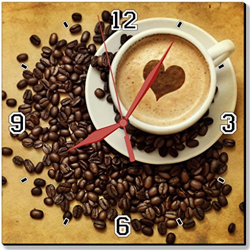 """Morning Coffee Beans Cup Heart Punktail'S Collections 10"""" Quartz Plastic Wall Square Clock Customized Made To Order"""