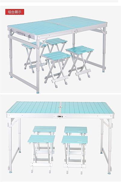 MONEYY Ctd en aleación de aluminio completo kit de sillas plegables mesas de picnic al aire libre publicidad división portable 118*70*52/62/73cm