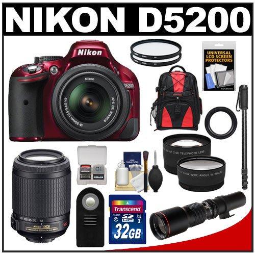 Nikon D5200 Digital Slr Camera & 18-55Mm G Vr Dx Af-S Zoom Lens (Red) With 55-200Mm Vr + 500Mm Telephoto Lens + 32Gb Card + Backpack + Tele/Wide Lenses + Monopod + Accessory Kit
