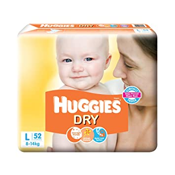 Image result for Huggies New Dry Large Size Diapers (52 Counts)