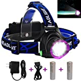 LED Headlamp Flashlight, Super Bright Rechargeable Headlight for Cycling Running Dog Walking Camping Hiking Fishing Night Reading (Purple headlamp) (Color: Purple headlamp)