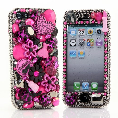 Best Price BlingAngels® 3D Luxury Bling iphone 5 5s Case Cover Faceplate Swarovski Crystals Diamond Sparkle bedazzled jeweled Design Front & Back Snap-on Hard Case + FREE Premium Quality Stylus and Water-Resistant Bag (100% Handcrafted by BlingAngels) (Girly Pink and black Design)