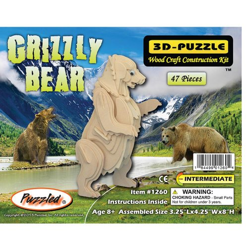 Puzzled Grizzly Bear 3D Natural Wood Puzzle - 1