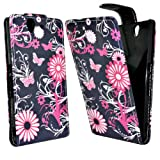 Phonedirectonline - Pink / black butterfly design faux leather case cover pouch for Sony xperia Z