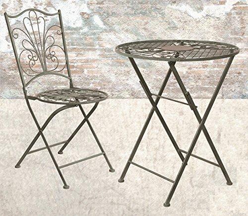 Tisch + 2 Stühle *Vintage* Garnitur Gartenmöbel Sitzgarnitur Metall grau-grün jetzt kaufen