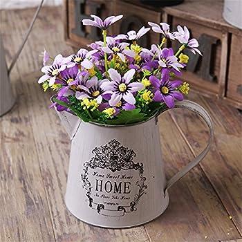 VANCORE Vintage White Shabby Chic Mini Metal Pitcher Flower Vase