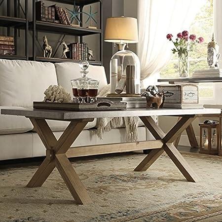 INSPIRE Q Aberdeen Industrial Zinc Top Weathered Oak Trestle Rectangular Coffee Table