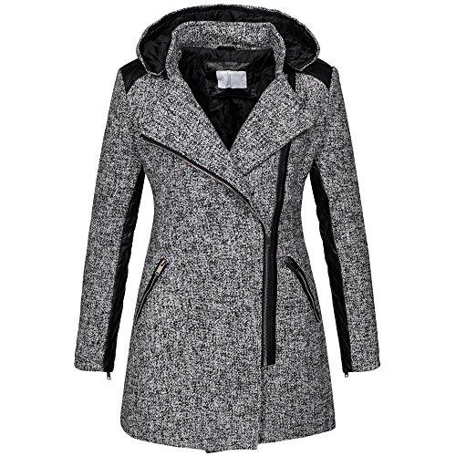 Parka invernale da donna cappotto in lana maltinto woll giacca similpelle B272 grigio chiaro 44