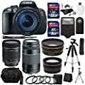 Canon EOS Rebel T5i Digital SLR Camera Body with EF-S 18-135mm IS STM + EF 75-300mm f/4-5.6 III + Studio Series 58mm Wide Angle and 58mm Telephoto Lenses + 40 GB Storage + Tripods + 4 Filters + Deluxe Bag + Extra Accessories