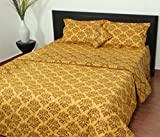 Thuhil home linen Kanishka 100% Cotton Printed Double Bedspread With 2 Pillow Covers-Super King Size,Gold