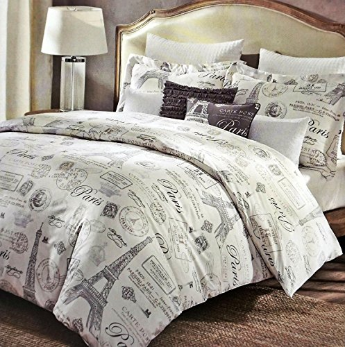 5 Piece Designer Cynthia Rowley Paris Eiffel Tower FULL/QUEEN SIZE Comforter Set