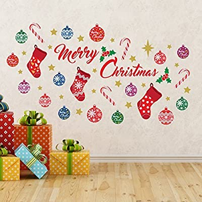 wallflexi christmas decorations wall stickers merry christmas decoration set wall murals decals living room children nursery school restaurant cafe hotel