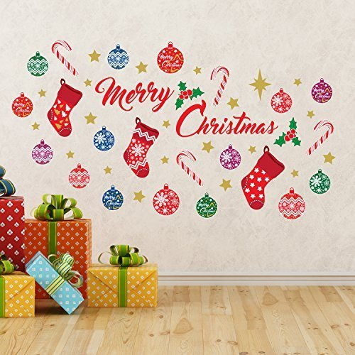 "Christmas Decorations Wall Stickers "" Merry Christmas Decoration Set"" Wall Murals Decals living Room Children Nursery School Restaurant Cafe Hotel Home Décor"