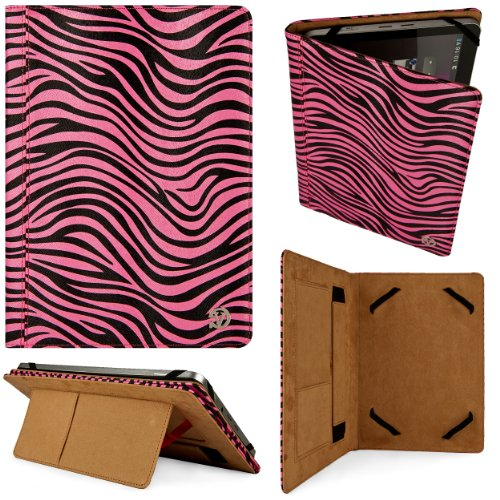 Disastrous & Pink Zebra Design VG Leatherette Grade Case with Intricate Stitching and Pull Out Stand for Sony Xperia S 9.4-inch Android Writing- (16GB 32GB 64GB)