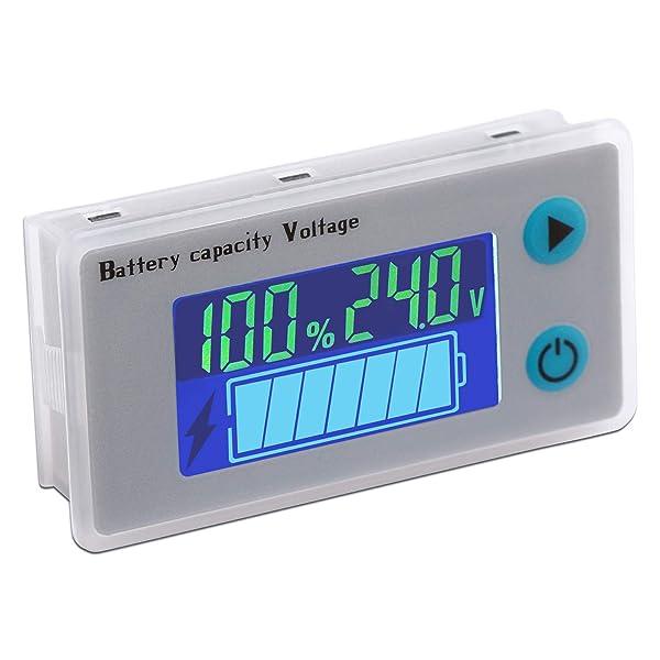 Battery Monitor Meter, DROK 24V Voltmeter Battery Level Percentage Voltage Temperature Tester, 12V 24V 36V 48V Battery Status Indicator Meter Display Panel for Car Boat Marine (Tamaño: 24V)