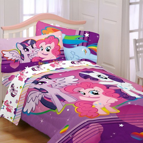 Big Save! My Little Pony 4pc Twin Comforter and Sheet Set Bedding Collection Purple Pink