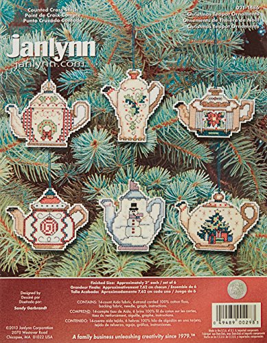 Prima Marketing 14 Count Christmas Teapot Ornaments Counted Cross Stitch Kit, 3-Inch, Set of 6 (Teapot Kit compare prices)