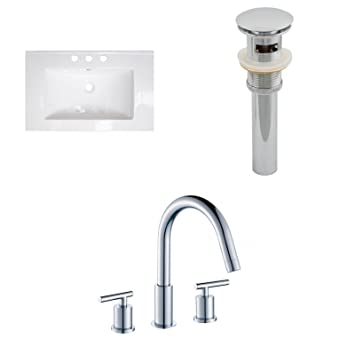 "Jade Bath JB-16690 24"" W x 18"" D Ceramic Top Set with 8"" o.c. CUPC Faucet and Drain, White"