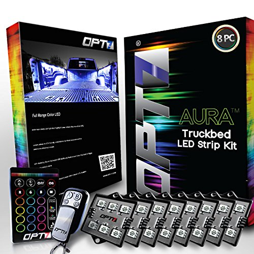 AURA LED 8pc Truck Bed Lighting Kit - Multi-Color Bright Work Light - Sound Activated Music - Wireless Remote - OE-Style Rocker Switch - Easy Install - Tailgate Pin Switch - 2 Yr Warranty (Beds For The Back Of A Truck compare prices)