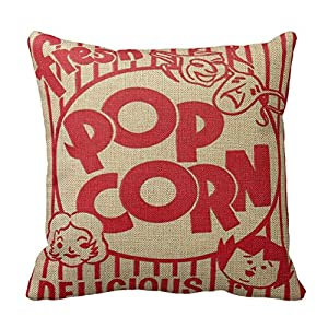 20 Square Throw Pillow Covers : Amazon.com - Movie Night Popcorn Pillows Square Throw Pillow Cover Cushion Case With Hidden ...
