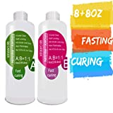 Epoxy-Resin-Kit for Jewelry, Art, Craft 16oz,Fast Curing, 2 Part Crystal Clear Casting Resin (Tamaño: 8+8)