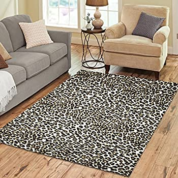 InterestPrint Home Decoration White Brown Leopard Print Area Rug 7 x 5, Animal Fur Print Carpet Rugs Cover Carpet for for Home Living Dining Room