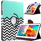 ULAK Fashion Pattern 360 Rotating Synthetic Leather Case for Samsung Galaxy Tab 4 10.1 inch Tablet SM-T530 T531 T535 Flip Smart Cover (Follow the Sky)