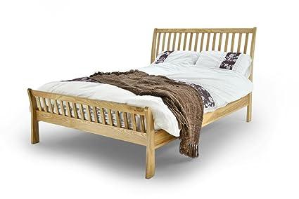 METAL AESTHETIC DOUBLE BED SOLID OAK