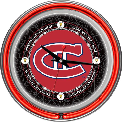 NHL Vintage Montreal Canadiens Neon Clock - 14 inch Diameter - Game Room Products Neon Clocks NHL - Hockey